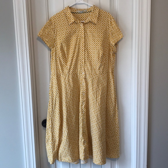 Boden Dresses Vintage Style Yellow White Collar Dress 16 Poshmark